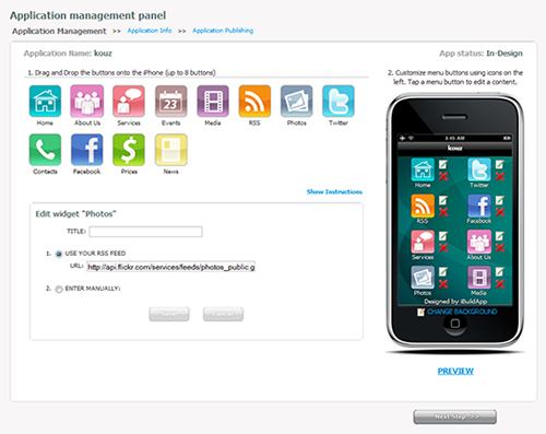 iPhone application builder